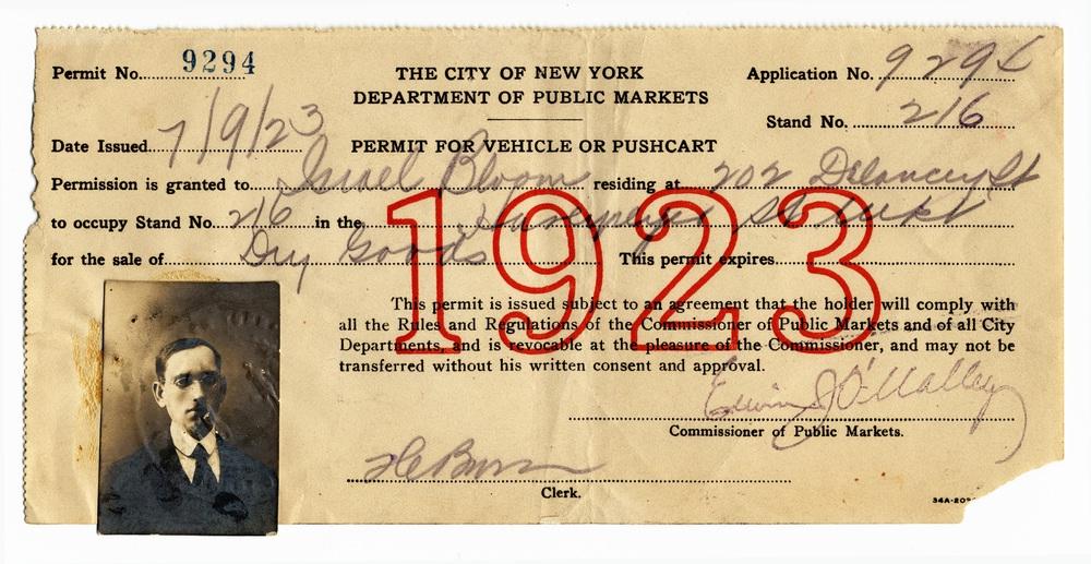 US 25 - New York, 1923 - Permit for pushcart vendor.jpg