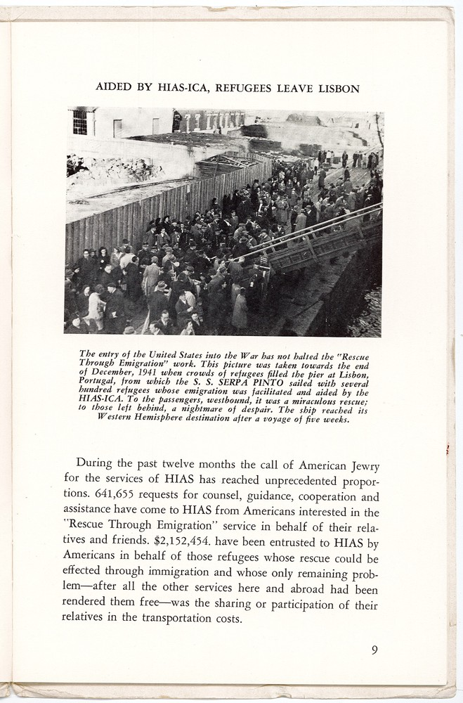 1941 - HIAS Rescue with picture of Refugees boarding ship.jpg