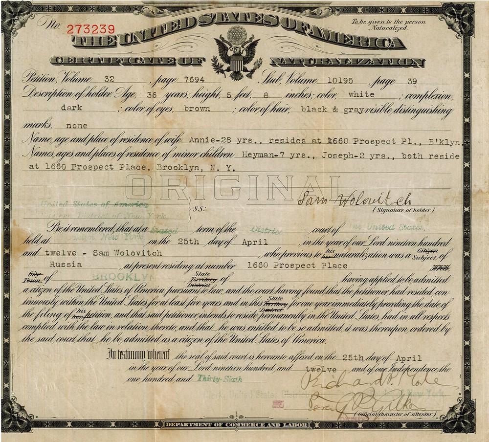RG 126 - Folder 49.3 - Certificate of Naturalization - 1912.jpg