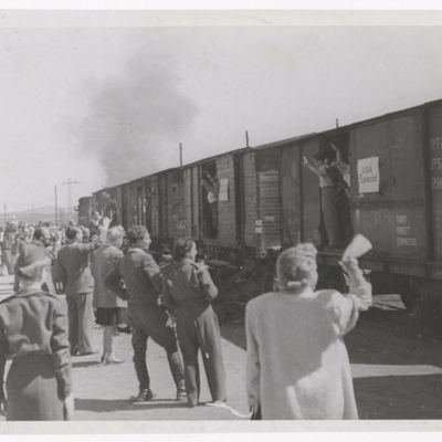 Refugees Departing a DP Camp for the U.S.