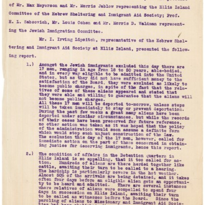 Minutes of the Special Meeting of the Ellis Island Committee of HIAS and The Jewish Immigration Committee