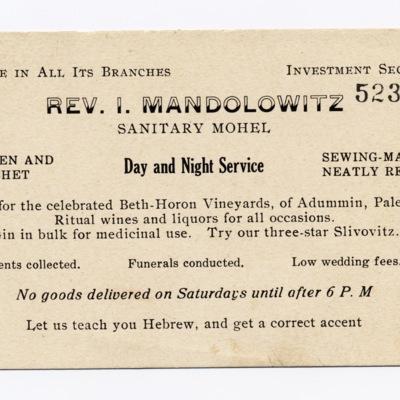 Business Card of Rev. I. Mandolowitz