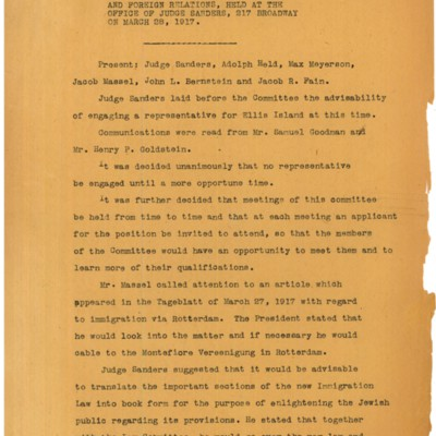 Minutes of a Meeting of the Committee on United States Immigration Stations and Foreign Relations