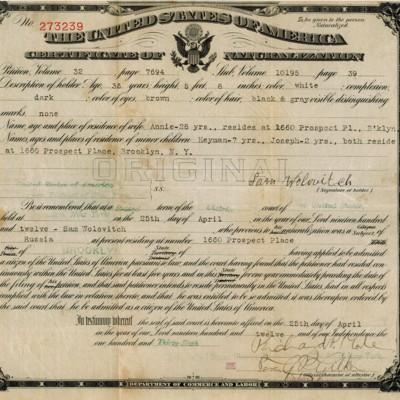 Certificate of Naturalization
